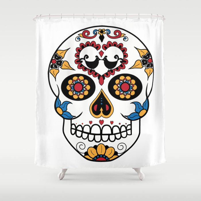 Mexican Sugar Skull Shower Curtain by gwladysrossetti