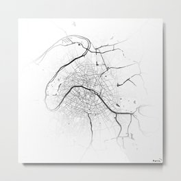 Paris map lines Metal Print