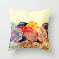 takmaj Throw Pillows featuring umbrellas by takmaj