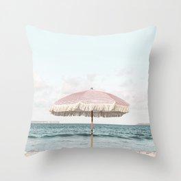 Pink Umbrella Throw Pillow