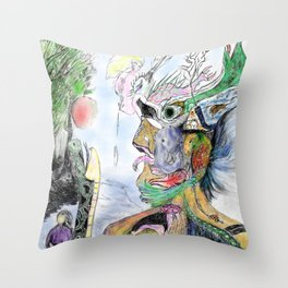 Human with animals22 Throw Pillow