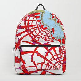 ARTISTIC RED-WHITE BUTTERFLY DREAM CATCHER WEB Backpack