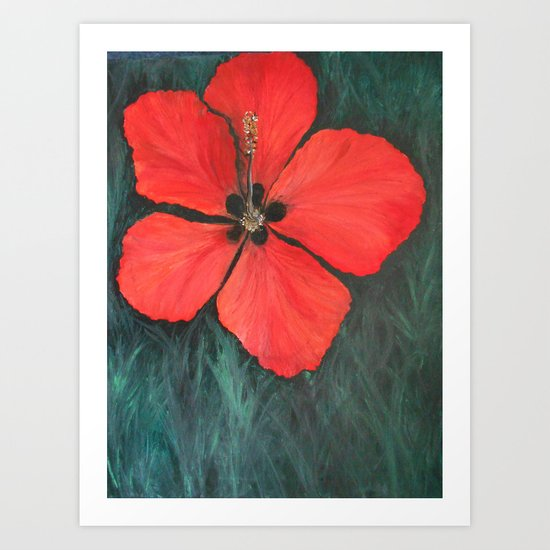 Christmas Hibiscus Art Print