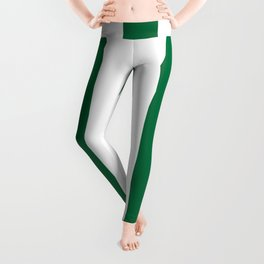 Cadmium green - solid color - white vertical lines pattern Leggings
