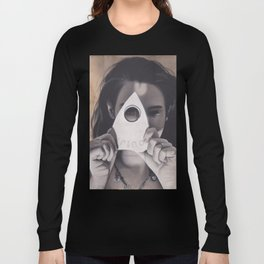 Realism Drawing of Beautiful Woman with Ouija Planchette Piece Long Sleeve T-shirt