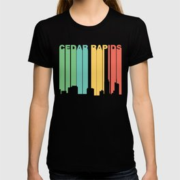 Retro 1970's Style Cedar Rapids Iowa Skyline T-shirt