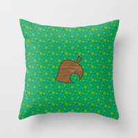 animal crossing Throw Pillows featuring Animal Crossing Spring Grass by Rebekhaart