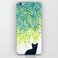 Cat in the garden under willow tree iPhone & iPod Skin
