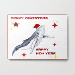 Merry Christmas Season greetings for whale lovers Metal Print
