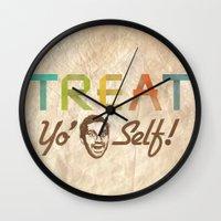 treat yo self Wall Clocks featuring Treat Yo' Self by See No Evil