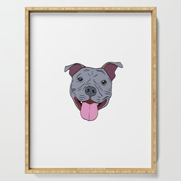 """Certified Dog Lover? Here's a cute t-shirt design with an illustration of """"Pit bull Mama"""" T-shirt Serving Tray"""