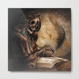 Skeleton Scribe Metal Print
