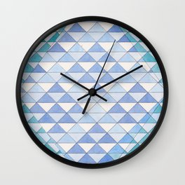 Triangle Pattern No. 9 Shifting Blue and Turquoise Wall Clock