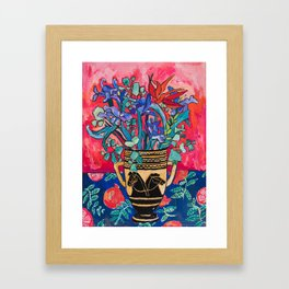Persephone Painting - Bouquet of Iris and Strelitzia Flowers in Greek Horse Vase Against Coral Pink Framed Art Print