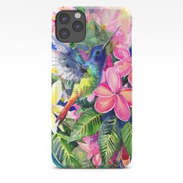 Hummingbird and Plumeria Florwers Tropical bright colored foliage floral Hawaiian Flowers iPhone Case