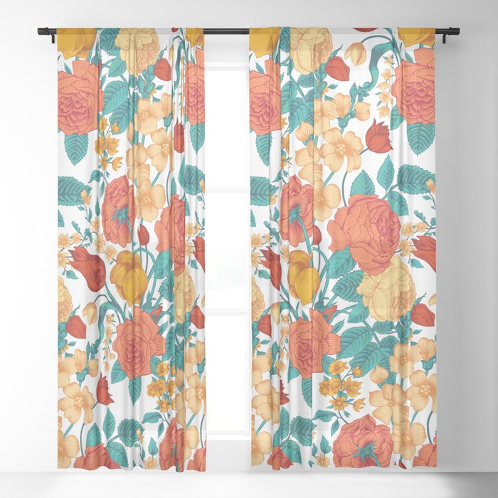 Vintage flower garden Sheer Curtain