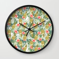 Tropical Hibiscus Pineapples Leaves Watercolor Floral Wall Clock