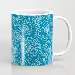 Mosaic Blue Roses Coffee Mug