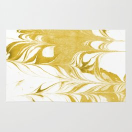 Suminagashi 3 gold and white marble spilled ink ocean swirl watercolor painting Rug