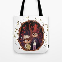 over the garden wall Tote Bags featuring Over the garden wall by Willow