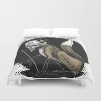 kitsune Duvet Covers featuring Kitsune Demon Fox by pakowacz