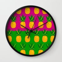 pineapples Wall Clocks featuring Pineapples by The Wallpaper Files