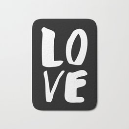LOVE Wall Art Home Decor in Black-and-White Ink Modern Typography Poster Graphic-Design Minimalism Bath Mat