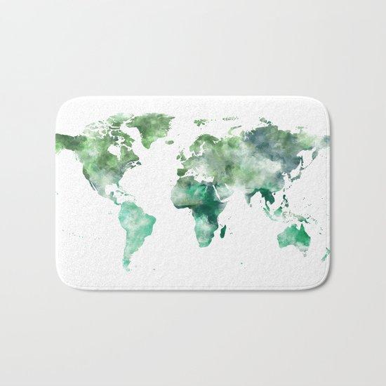 World Map Emerald Green Earth Bath Mat