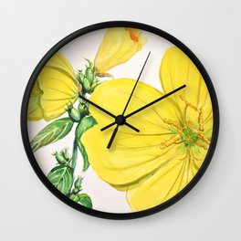 Yellow Flowers in watercolor Wall Clock