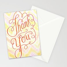 Thank you - hand lettered on chevron Stationery Cards