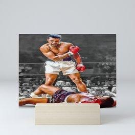 Mama Said I'm Gonna Knock You Out - Ali Knocks out Liston Boxing Portrait Painting oil on canvas Mini Art Print