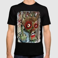 zombie flips the bird Mens Fitted Tee Black 2X-LARGE