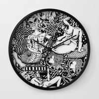 bisexual Wall Clocks featuring Psychedelic Visions of the Bisexual Shaman Chicks by cahill wessel