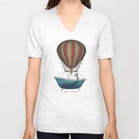 whales V-neck T-shirts featuring Whales by Galen Valle