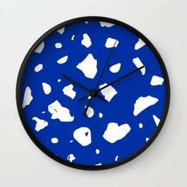 Blue and White Terrazzo Wall Clock