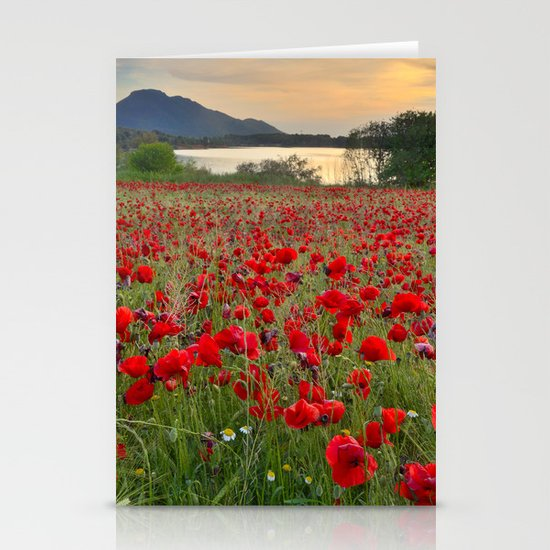 Field of poppies in the lake Stationery Cards