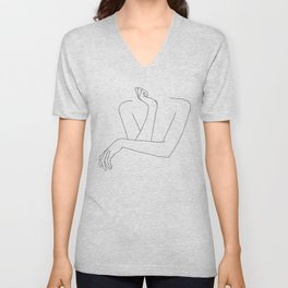 Minimal line drawing of woman's folded arms - Anna Unisex V-Neck