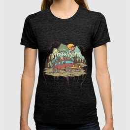 Mountains Road Trip Outdoor Camping SUV Adventure T-Shirt - Design Illustration Print Artwork Gift T-shirt