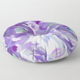 Purple Haze Painterly Floral Abstract Floor Pillow