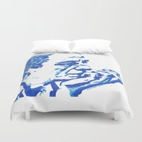 johnny cash Duvet Covers featuring Johnny Cash in Blue Lines and Shapes by JennFolds5 * Jennifer Delamar-Goss