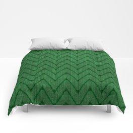 Faux Suede Kelly Green Chevron Pattern Comforters