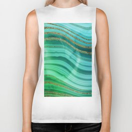 Ocean Blue And Green Mermaid Glamour Marble Biker Tank