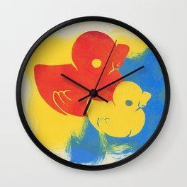 Rubber Duck Monoprint Wall Clock
