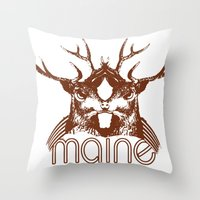 maine Throw Pillows featuring Backwoods Maine by One Giant Eye