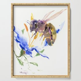 Honey Bee and Blue Flower Serving Tray