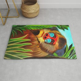 Henri Rousseau Mandrill In The Jungle Rug