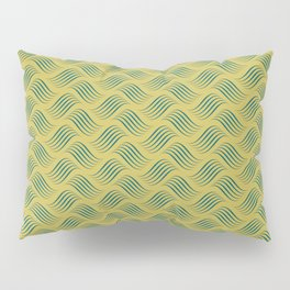 Dark Yellow and Turquoise Wavy Tessellation Line Pattern Sherwin Williams Trending Colors of 2019 Oceanside Dark Aqua Blue SW 6496 Pillow Sham