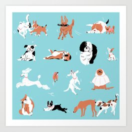 Dogs, Dogs, Dogs, Blue Art Print