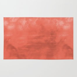 Burst of Color Pantone Living Coral Abstract Sponge Watercolor Painting Blend Rug