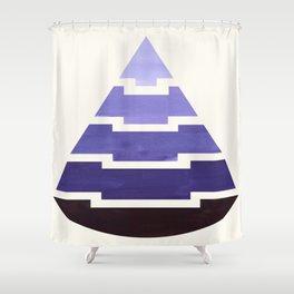 Purple Watercolor Ombre Geometric Aztec Triangle Pyramid Pattern Minimalist Mid Century Design Shower Curtain
